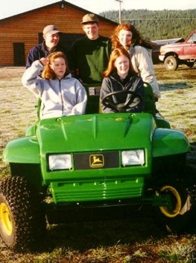 Merritt, William, and Gretchen in the back, with friends Brianna and Mary in the front, March 2000