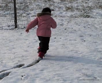 running through the snow...