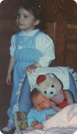"with my brand new baby brother and the ""David Bear"" I passed on to him..."