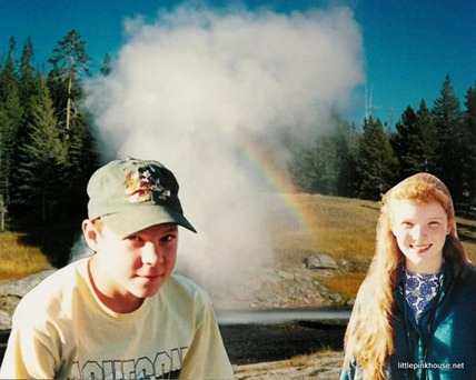 pictures of us on that day, superimposed onto a picture of the geyser by which we met
