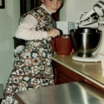 baking cookies in great grandma Doris' apron