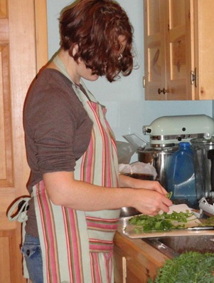 making green tomato salsa, photo by my cousin Rebekah