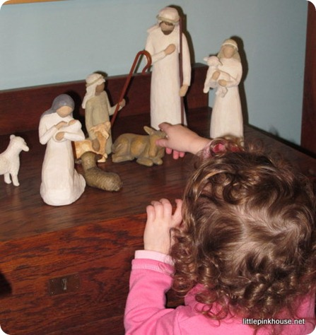 Mary with the nativity set