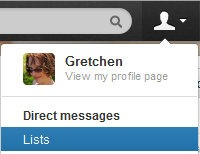 Lists in the profile drop-down