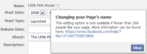 changing your page's name