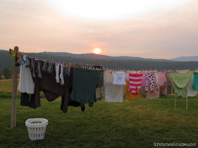 smoky sunset above the clothesline