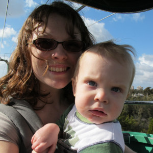 mother & son on the sky tram ride at the zoo