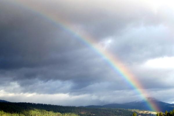 a rainbow sunrise
