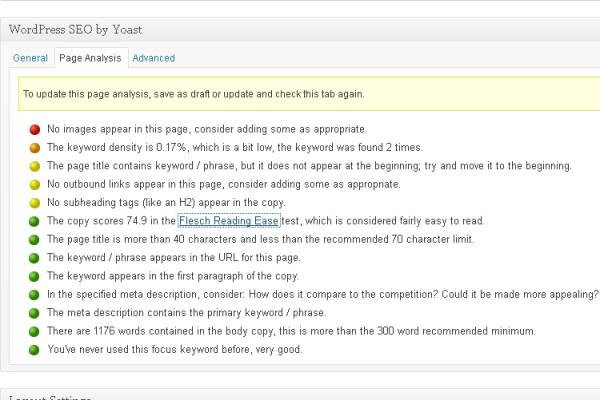 example of SEO analysis in the Yoast plugin for WordPress