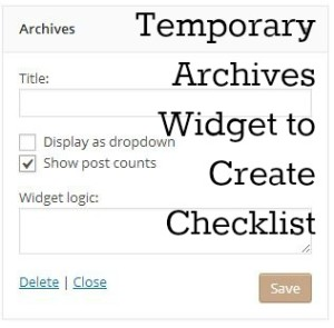 Temporary Archives Widget