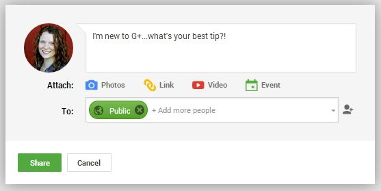 The first thing you share on Google+ doesn't have to be brilliant--you can ask a question!