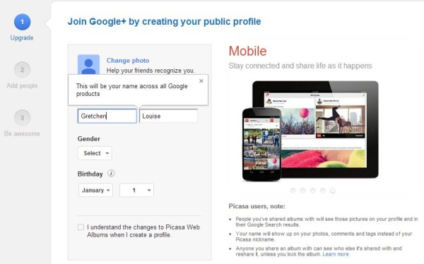 Join Google+ by creating your public profile