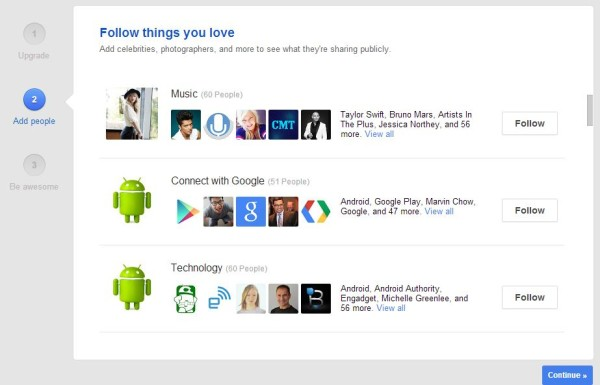Follow things you love on G+