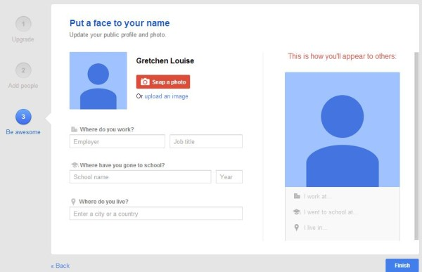 Put a face to your name on G+