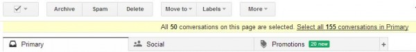 Select All Conversations in Gmail