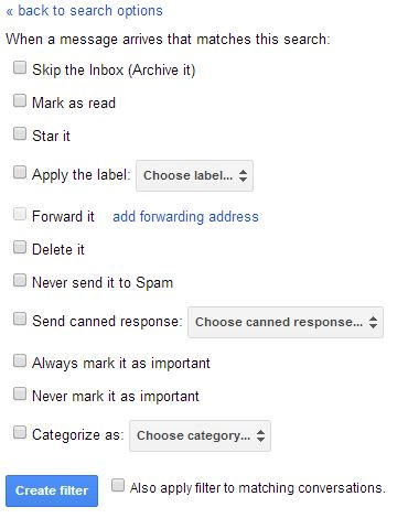 Gmail Filters Options