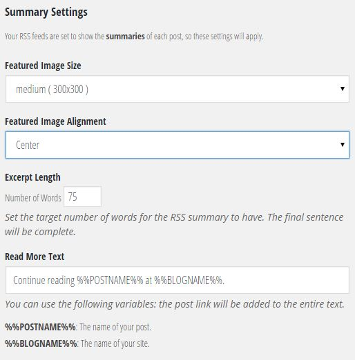 Summary Recommended Settings