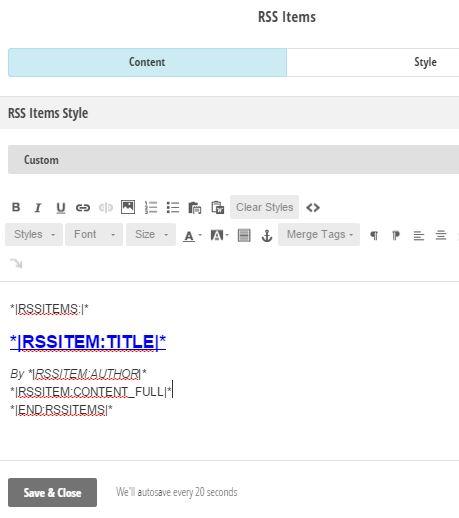 MailChimp Custom RSS Item Style