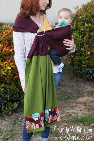 I have no pictures of myself wearing the sling, so I had my lovely friend and her sweet little one model it for this blog post.