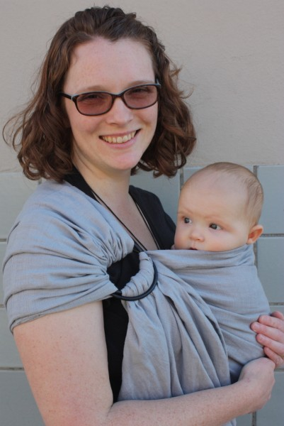 Gretchen wearing with a Wild Bird ring sling