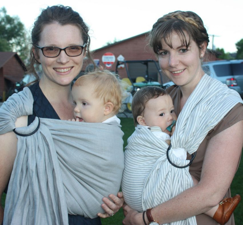 Babywearing Sisters-in-Law @GretLouise and @Mama_Endo wearing #MyWildBird Slings to a wedding