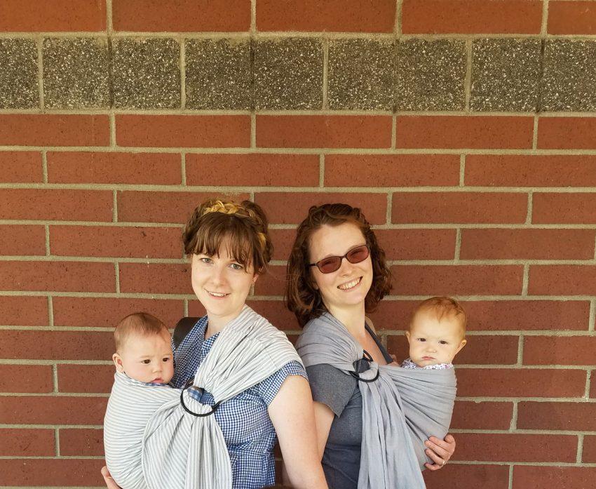 Babywearing Sisters-in-Law @GretLouise and @Mama_Endo wearing #MyWildBird slings