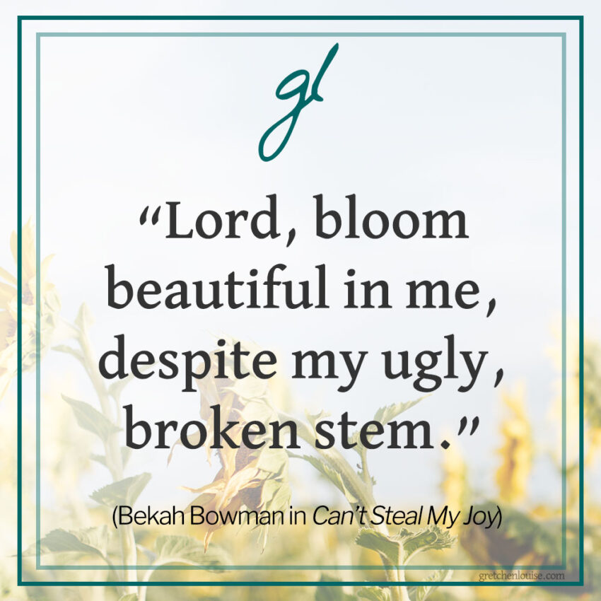 """Lord, bloom beautiful in me, despite my ugly, broken stem."" (Bekah Bowman in Can't Steal My Joy)"