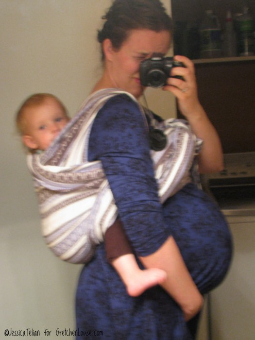 Using an Ellevill Zara Tri-Blue woven wrap in a Double Hammock carry.