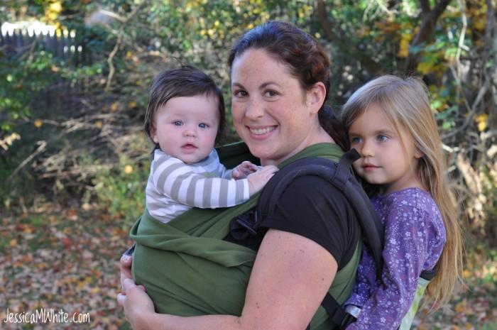 Jessica M. White tandem babywearing.